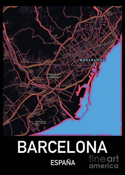 Digital Art - Barcelona City Map by Helge