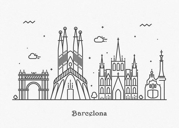 Landmark Center Drawing - Barcelona Cityscape Travel Poster by Inspirowl Design