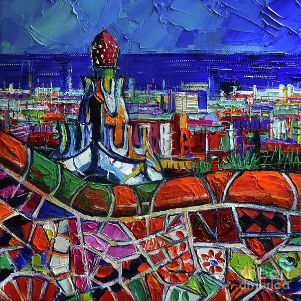 Wall Art - Painting - Barcelona Impression - Impasto Palette Knife Oil Painting Mona Edulesco by Mona Edulesco
