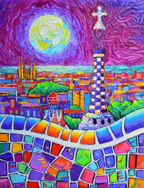 Painting - Barcelona Magenta Night Park Guell Super Moon Abstract Cityscape Knife Painting Ana Maria Edulescu by Ana Maria Edulescu