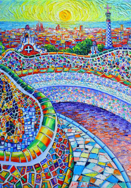 Wall Art - Painting - Barcelona Magical Sunrise Colors Park Guell Textural Impasto Knife Oil Painting Ana Maria Edulescu by Ana Maria Edulescu