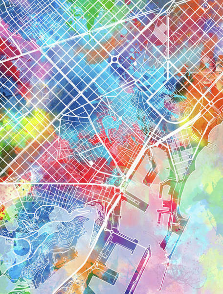 Barcelona Digital Art - Barcelona Map Watercolor by Bekim Art