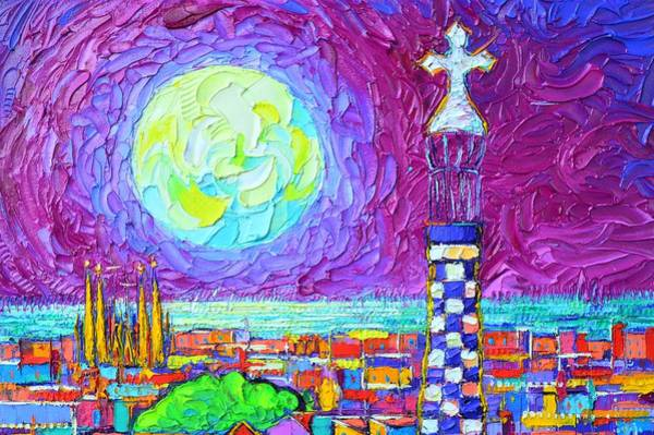 Painting - Barcelona Night Moonscape Modern Impressionist Impasto Palette Knife Oil Painting Ana Maria Edulescu by Ana Maria Edulescu