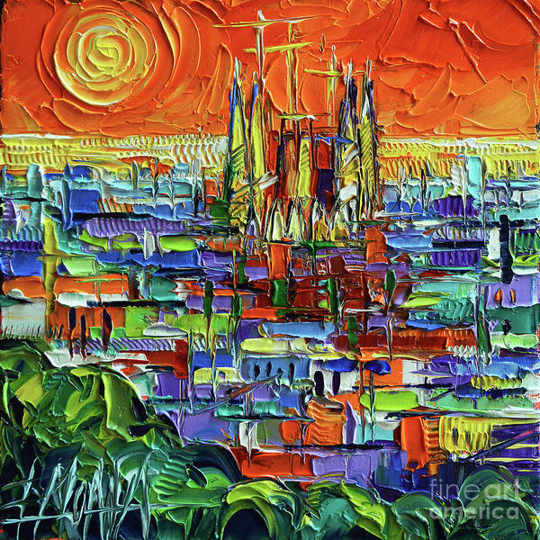 Wall Art - Painting - Barcelona Orange View - Sagrada Familia View From Park Guell - Abstract Palette Knife Oil Painting by Mona Edulesco