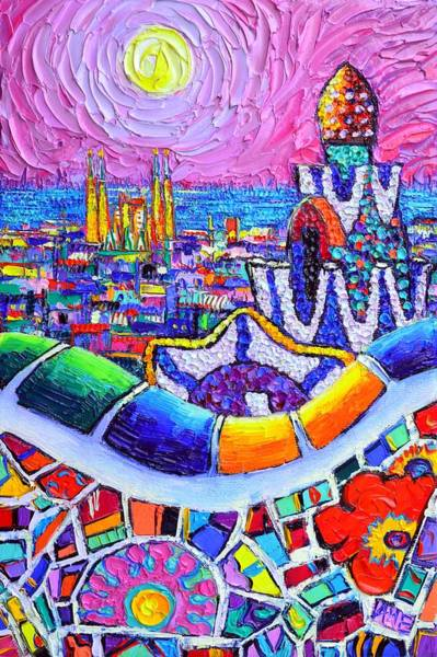 Painting - Barcelona Park Guell Colorful Night Textural Impasto Knife Oil Painting Abstract Ana Maria Edulescu by Ana Maria Edulescu
