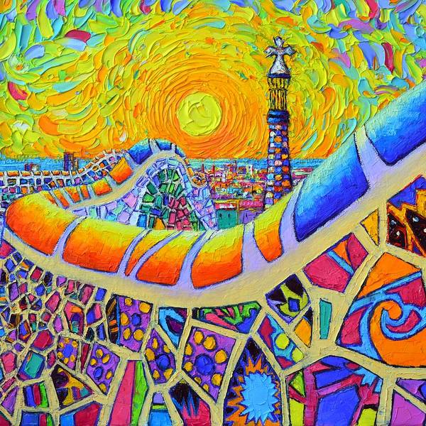 Painting - Barcelona Park Guell Mystic Yellow Sunrise Modern Impressionist Textural Painting Ana Maria Edulescu by Ana Maria Edulescu