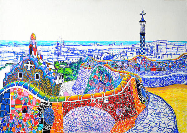 Painting - Barcelona Park Guell Preparatory Sketch Gaudi Mosaic Serpentine Bench By Ana Maria Edulescu Colorful by Ana Maria Edulescu