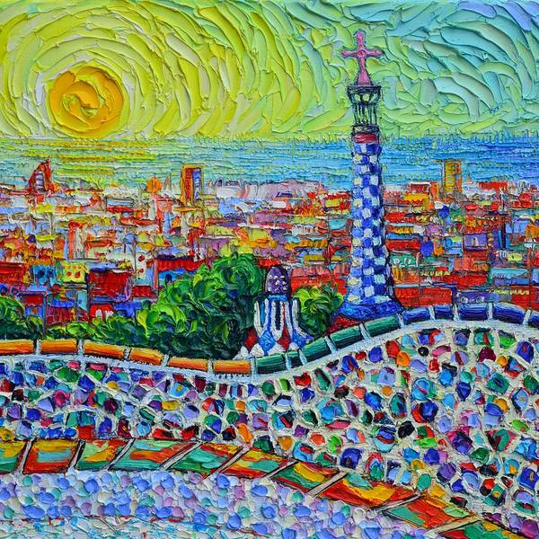 Painting - Barcelona Park Guell Sunrise 37 Textural Impressionist Impasto Knife Oil Painting Ana Maria Edulescu by Ana Maria Edulescu