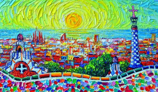 Painting - Barcelona Park Guell Sunrise Textural Impasto Abstract City Knife Oil Painting By Ana Maria Edulescu by Ana Maria Edulescu