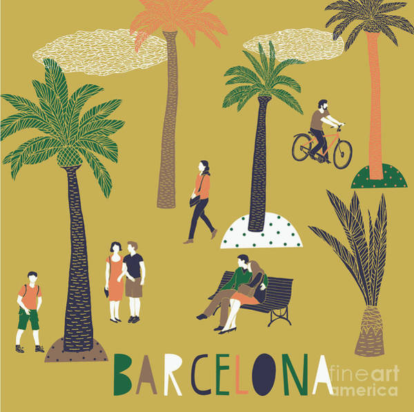 Wall Art - Digital Art - Barcelona Print Design by Lavandaart