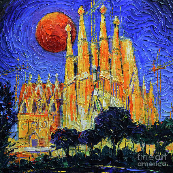 Wall Art - Painting - Barcelona Sagrada Familia Night Lights by Mona Edulesco