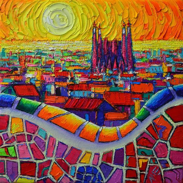 Painting - Barcelona Sagrada Familia Park Guell Sunrise Textural Impressionist Impasto Knife Oil Abstract City by Ana Maria Edulescu
