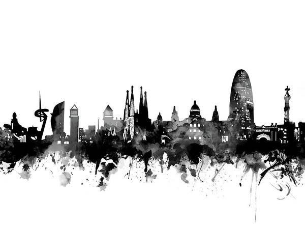 Barcelona Digital Art - Barcelona Skyline Bw by Bekim Art