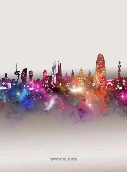 Wall Art - Digital Art - Barcelona Skyline Galaxy by Bekim M
