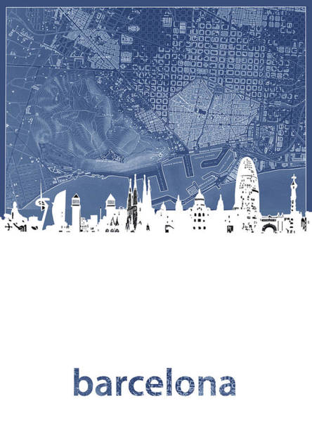 Barcelona Digital Art - Barcelona Skyline Map Blue by Bekim Art