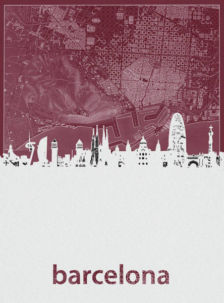 Barcelona Digital Art - Barcelona Skyline Map Red  by Bekim Art