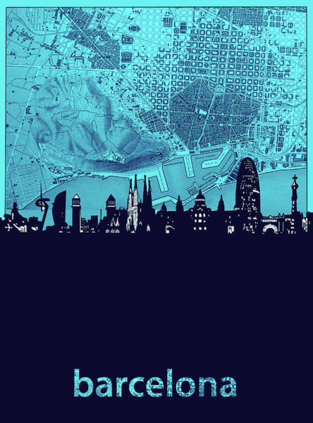 Barcelona Digital Art - Barcelona Skyline Map Turquoise by Bekim Art