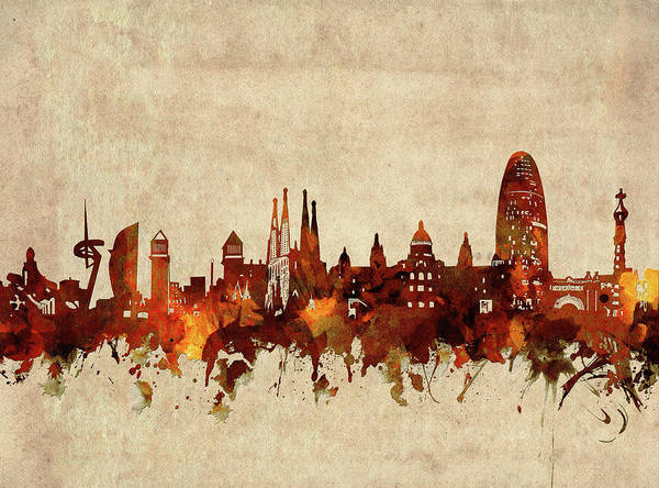 Barcelona Digital Art - Barcelona Skyline Sepia by Bekim Art