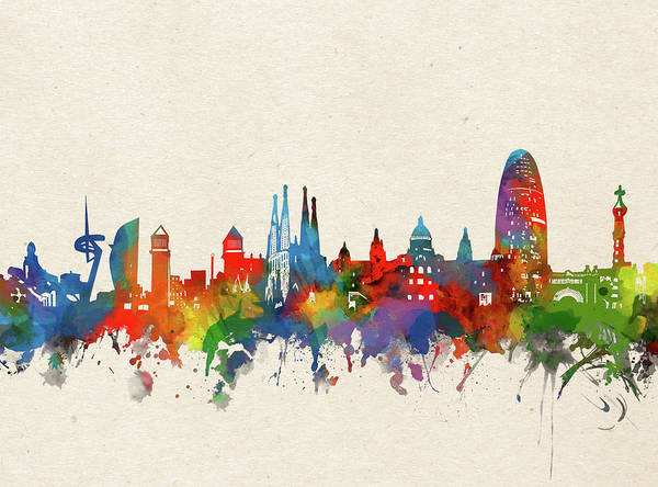 Barcelona Digital Art - Barcelona Skyline Watercolor by Bekim Art