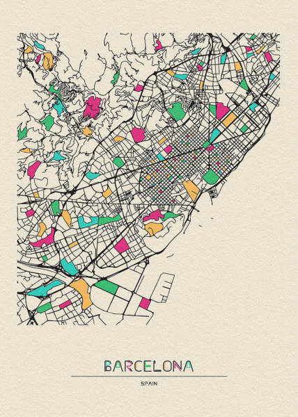 Digital Art - Barcelona, Spain City Map by Inspirowl Design