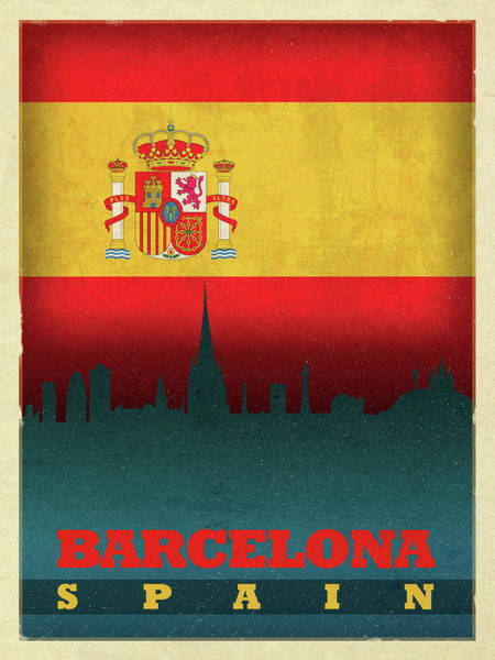Wall Art - Mixed Media - Barcelona Spain World City Flag Skyline by Design Turnpike