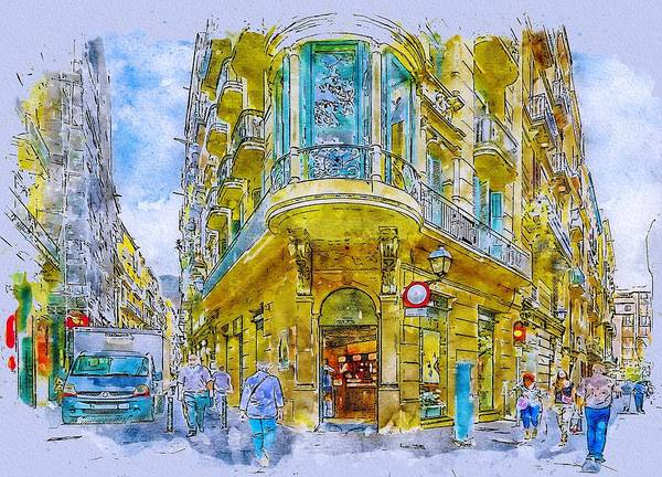 Wall Art - Painting - Barcelona Street by ArtMarketJapan