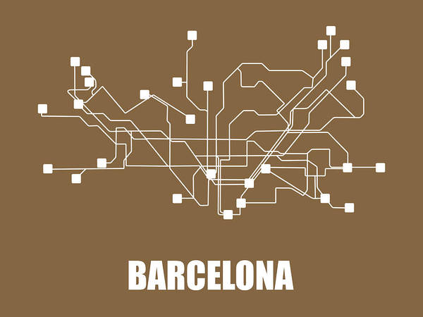 Wall Art - Digital Art - Barcelona Subway Map 2 by Naxart Studio