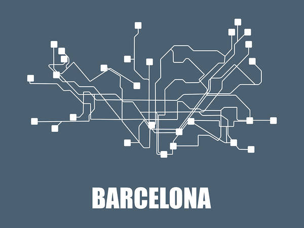 Wall Art - Digital Art - Barcelona Subway Map by Naxart Studio