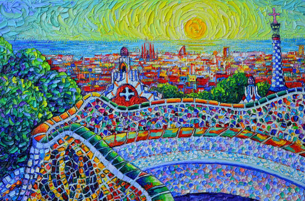 Painting - Barcelona Sunrise View From Park Guell Textural Impressionist Knife Oil Painting Ana Maria Edulescu by Ana Maria Edulescu
