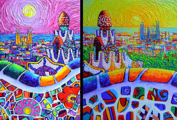 Painting - Barcelona View From Park Guell Modern Impressionist Impasto Abstract Cityscapes Ana Maria Edulescu  by Ana Maria Edulescu