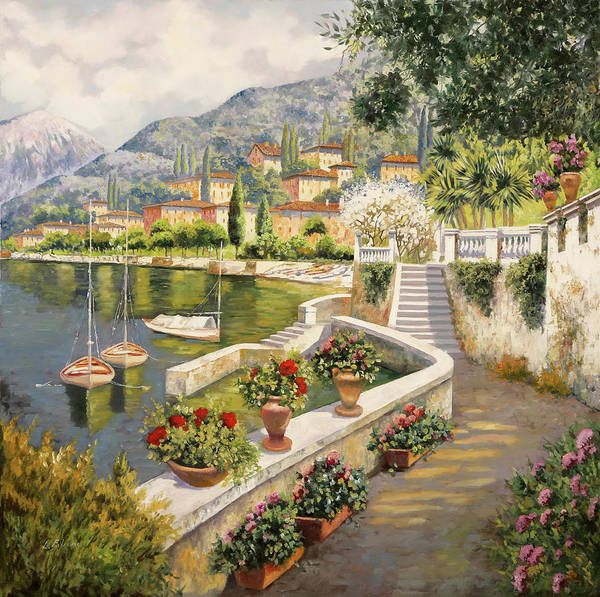 Lake Como Painting - barche a Bellagio by Guido Borelli