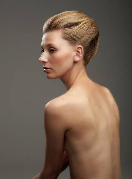 Buns Photograph - Bare Back Girl With Hair Tied Up by Smith Collection