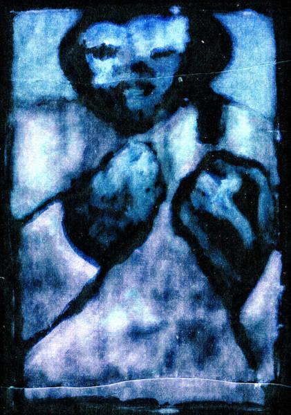 Digital Art - Bare Knuckle Boxer Digital Blue by Artist Dot