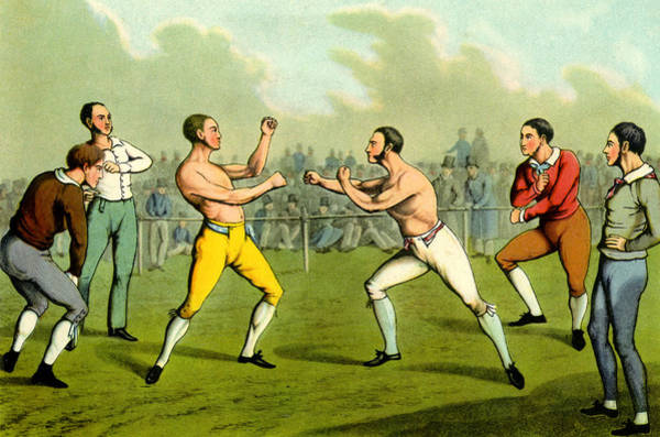 Wall Art - Drawing - Bareknuckle Boxing by Henry Thomas Alken