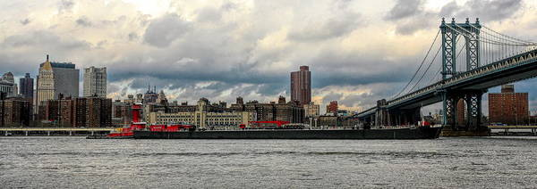 Wall Art - Photograph - Barge Boat Vessel Brooklyn Bridge  by Chuck Kuhn