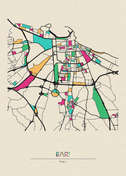 Drawing - Bari, Italy City Map by Inspirowl Design