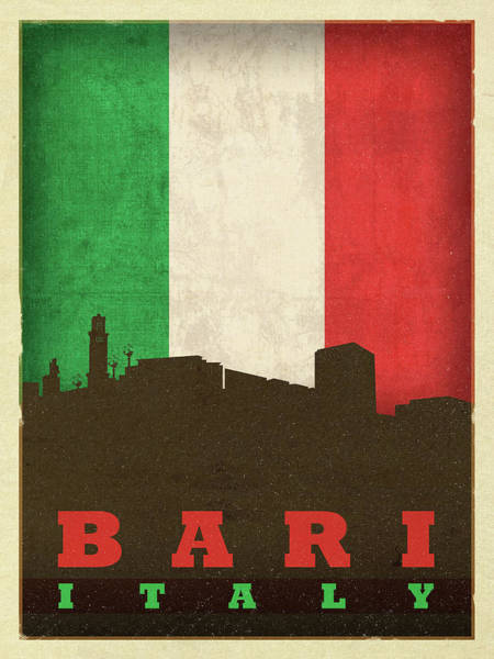 Wall Art - Mixed Media - Bari Italy World City Flag Skyline by Design Turnpike