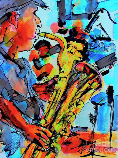 Mixed Media - Baritone Sax Player Modern Music Art  by Ginette Callaway