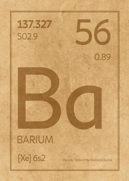 Elements Mixed Media - Barium Element Symbol Periodic Table Series 056 by Design Turnpike