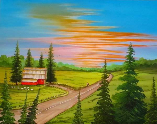Wall Art - Painting - Barn Amongst The Pines by Carol Sabo