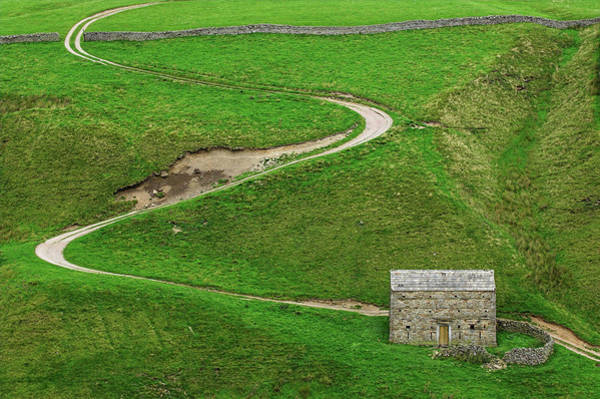 Wall Art - Photograph - Barn And Winding Road Up A Dales by Uig
