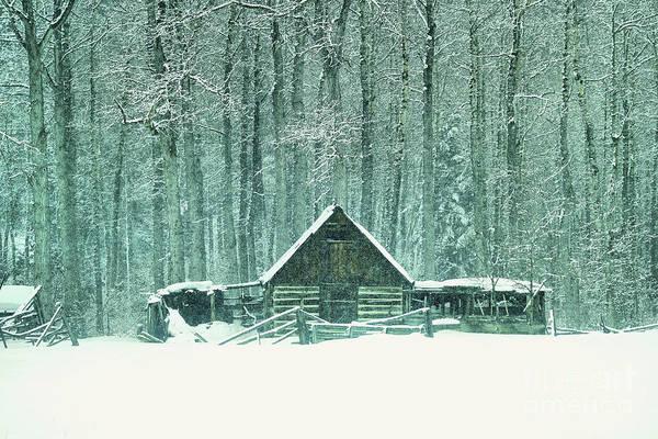 Isolator Wall Art - Photograph -  Barn In Snowfall by Jeff Swan
