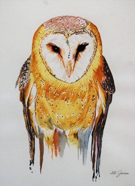 Painting - Barn Owl Drip by Sonja Jones