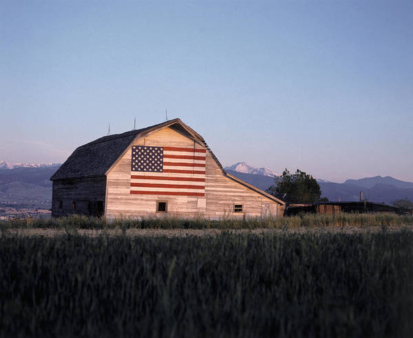 Photograph - Barn W Us Flag, Co by Chris Rogers