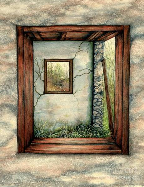 Window Frame Painting - Barn Window Peering Through Time by Janine Riley
