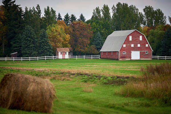 Wall Art - Photograph - Barn With White Fence by Paul Freidlund