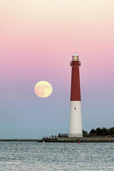 Barnegat Lighthouse Photograph - Barnegat Lighthouse Full Moon by Robert Barnes