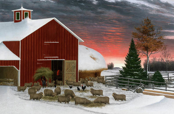 Wall Art - Painting - Barnyard In Winter by Horatio Shaw