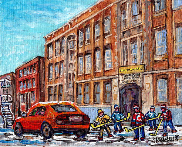 Painting - Baron Byng High School Winter Street Scene Paintings Montreal Hockey Art C Spandau Canadian Artist   by Carole Spandau