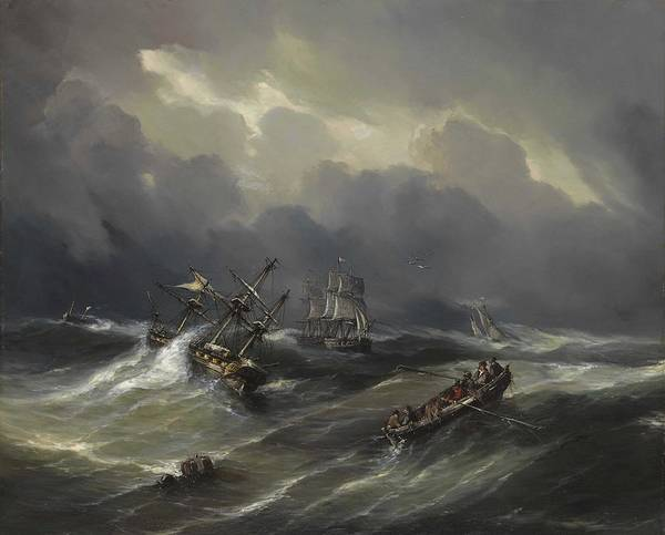 Wall Art - Painting - Baron Jean-antoine Theodore Gudin  French, 1802-1880  Ship In Distress by Celestial Images